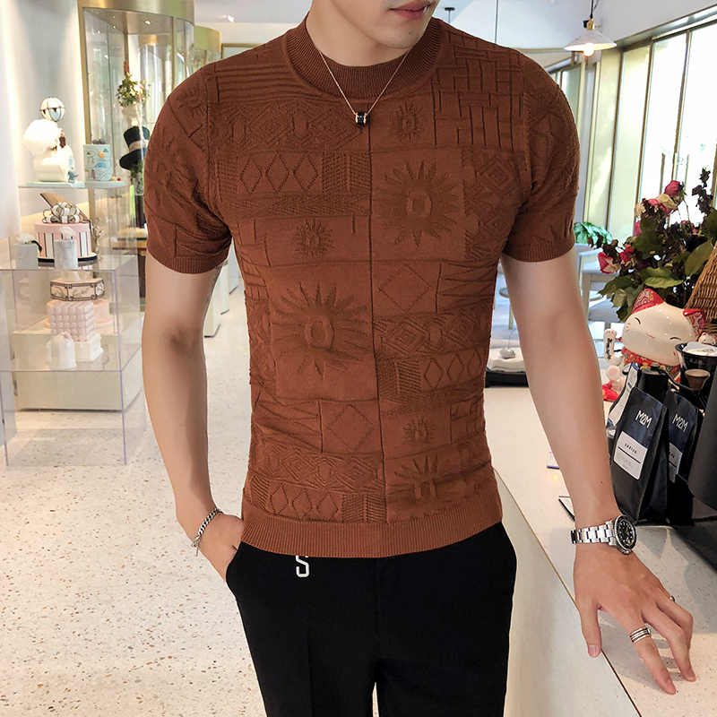 Winter Kurze Sleeevs Pullover Mens Brown Rollkragen Pullover Herren Pullover Pullover Slim Fit Rot Pull Homme Design Vetement Homme