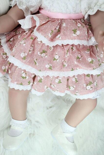60cm Silicone Vinyl Reborn Baby Doll Toys Lifelike Fashion Baby Girls Birthday Gift Princess Dolls Collection