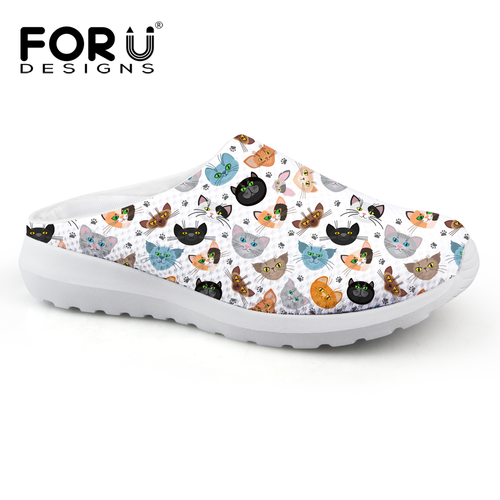 FORUDESIGNS Cute Women Slippers Cartoon Animal Cat Pattern Summer Breathable Mesh House Slippers Woman Flat Sandals Casual Shoes forudesigns women casual sneaker cartoon cute nurse printed flats fashion women s summer comfortable breathable girls flat shoes