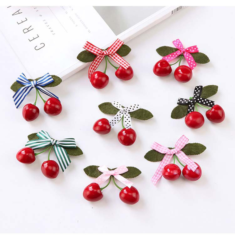 New Hair Clips Kids Girls Red Cherry Hairpins For Pinup Vintage Party Vaction Hair Accessories Women Barrettes Korean Style