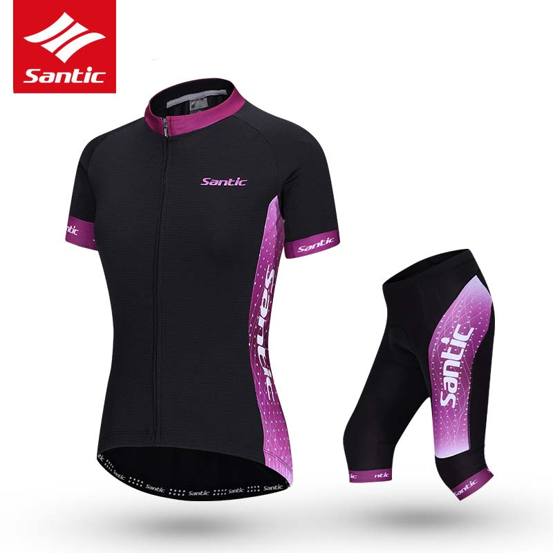 Santic Women Cycling Set Summer Pro Team MTB Road Bike Jersey Set 4D Padded Breathable Bicycle Jersey Woman Cycling Clothing veobike men long sleeves hooded waterproof windbreak sunscreen outdoor sport raincoat bike jersey bicycle cycling jacket