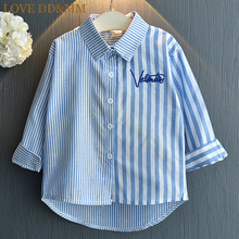 Kids Girls Long-Sleeved Striped Embroidered Shirt