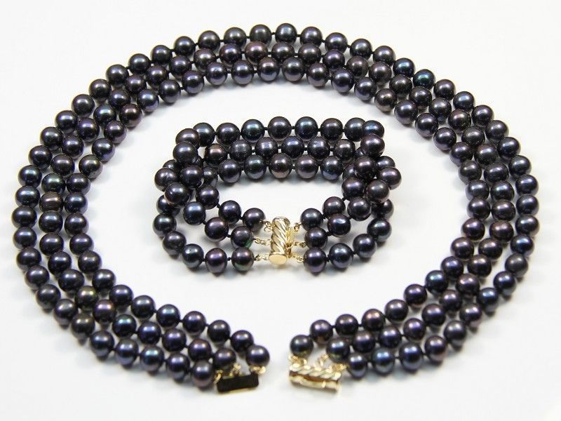 3 ROW 8-9mm natural tahitian black pearl necklace bracelet set 925silver gold