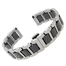 Watchband Ceramic Black with steel 16mm 20mm Straps common interface Solid Links Butterfly Buckle fits men