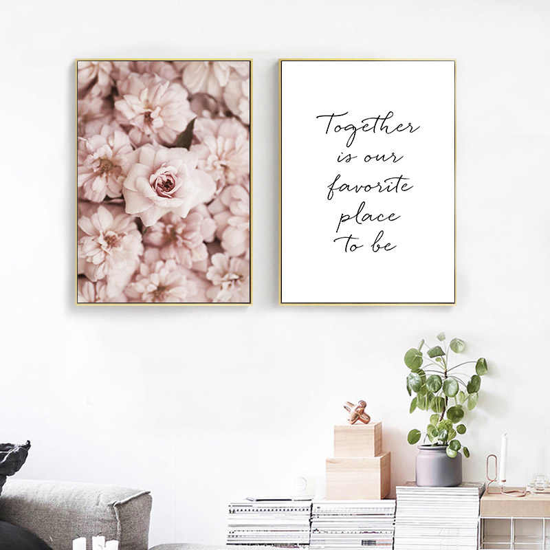 Pink Rose Flower Canvas Art Poster Botanical Decorative Print Wall Painting Nordic Picture Living Room Scandinavian Home Decor