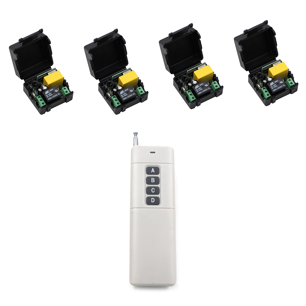 Hot Sale  500m AC 220 V 1 CH Wireless Remote Control Switch System 4* Receivers +Transmitter with 4 Buttons in Stock binge elec 16 buttons remote controller 433 92mhz only work as binge elec remote touch switch hot sale