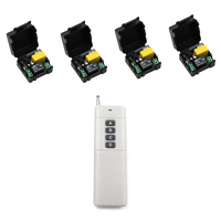 Hot Sale 500m AC 220 V 1 CH Wireless Remote Control Switch System 4 Receivers Transmitter