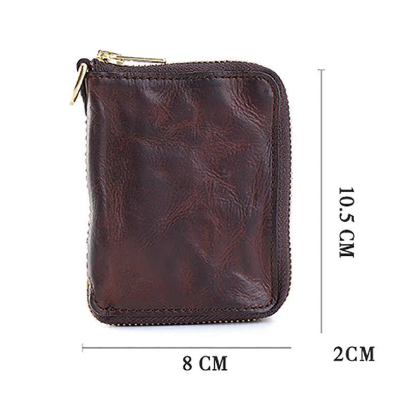 AETOO Fait Main pli petit portefeuille à fermeture éclair hommes rétro mode Tendance sac de monnaie décontracté personnalité Vachette souple sac de carte