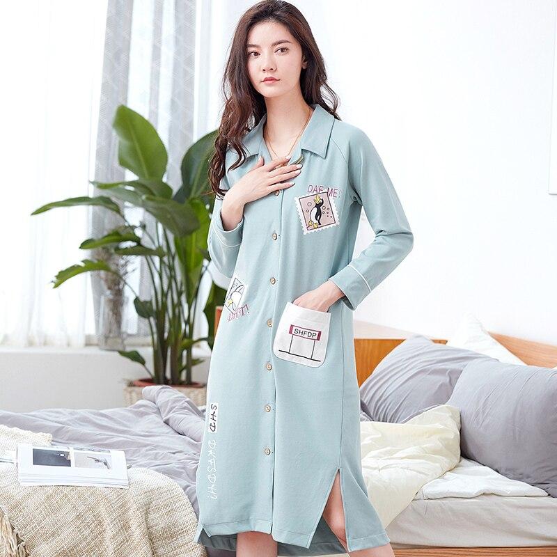 100% Cotton Nightgown Women Sweet Girl Lounge Nightdress Femme ...