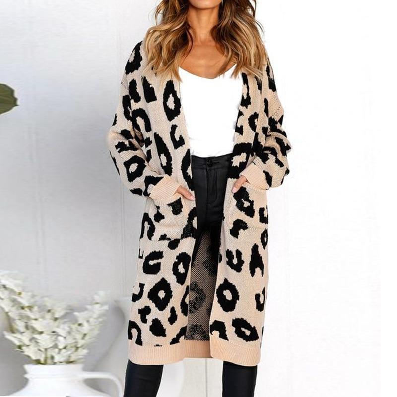 b7b4ee438b BOHOFREE 9 Colors Autumn Winter Loose Leopard Print Knitted Kimonos Pocket  Open Stitch Midi Knitwear Knitting Jacket Coats Women