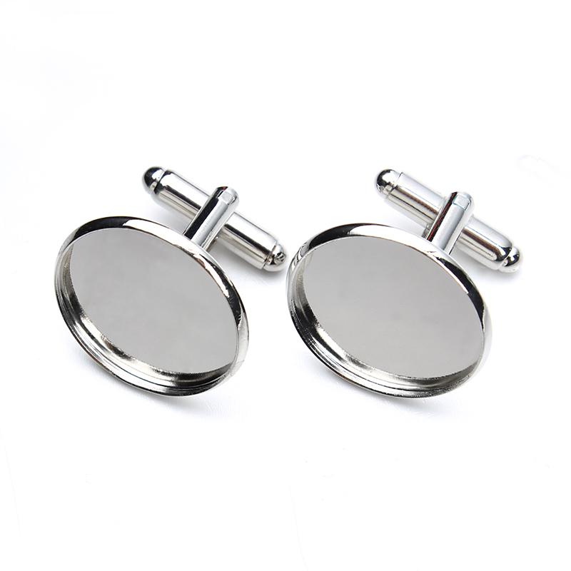 Cufflink blanks with matching glass cabochons velvet jewellery bag Gold Silver