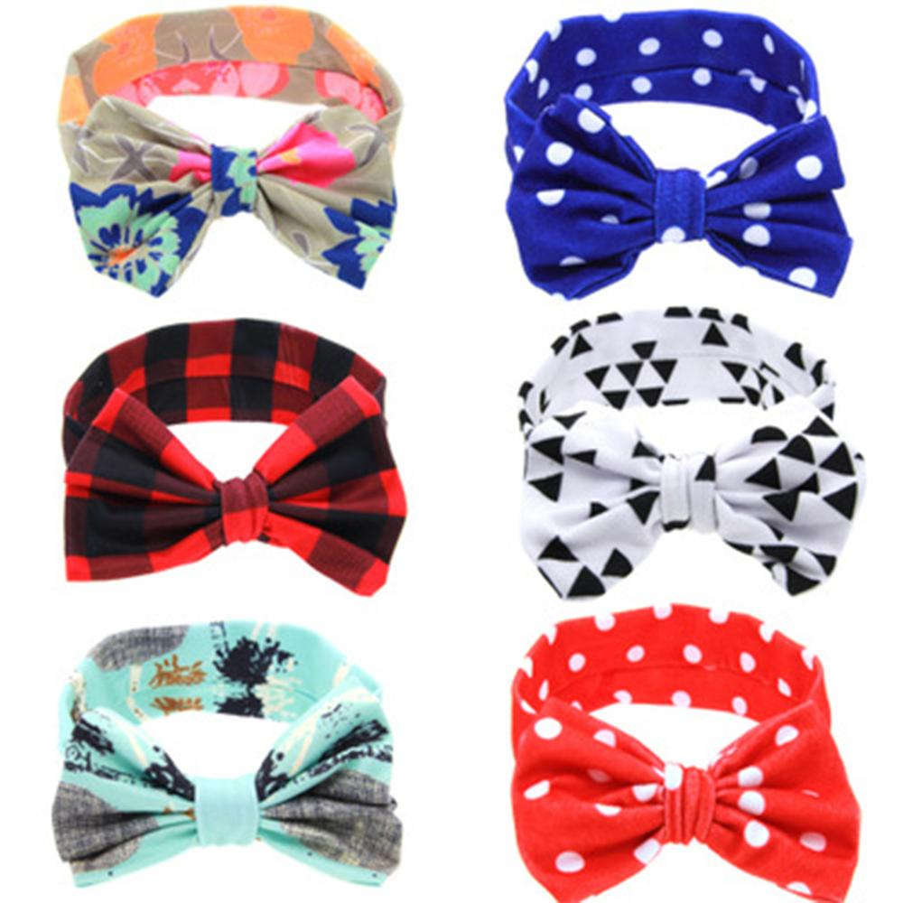 1PC Baby Girls Headband Cotton Bow Knot Printed Floral//Dots//Striped Head Wrap