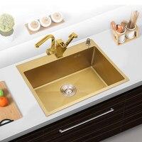 30 дюймов кухонная раковина SUS304 нержавеющая сталь кухонное полотенце Undermount Корзина Фильтр, матовый золотой один кишечник