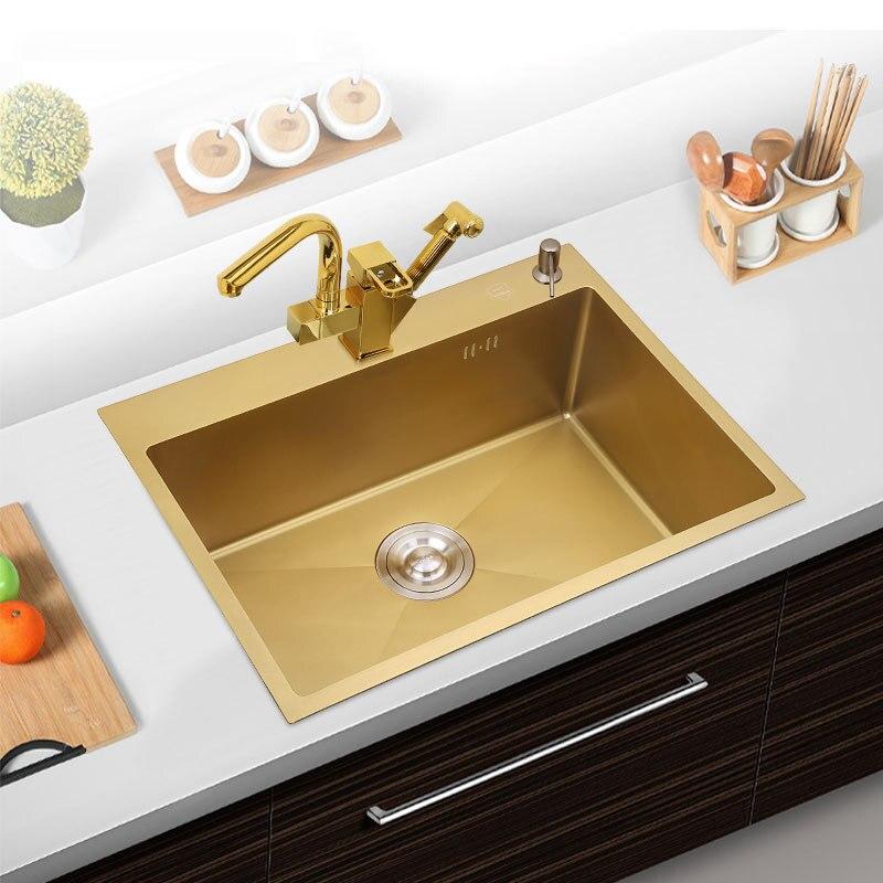 30 Inch Kitchen Sink SUS304 Stainless Steel Kitchen Towel Undermount Basket Strainer, Brushed Gold single bowel