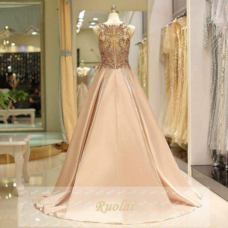 Robes de soirée de luxe 2018 longues perles lourdes robe de soirée en Satin sans manches robes de soirée formelles robe de soirée - 5
