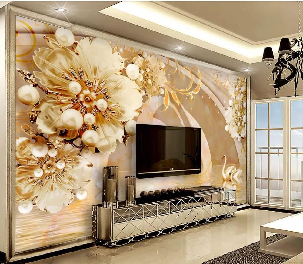 US $12 6 OFF 3D Wallpaper Custom Transparent Floral Swan Lake Jewelry Background Wall TV Background Wall Home Decor Wall