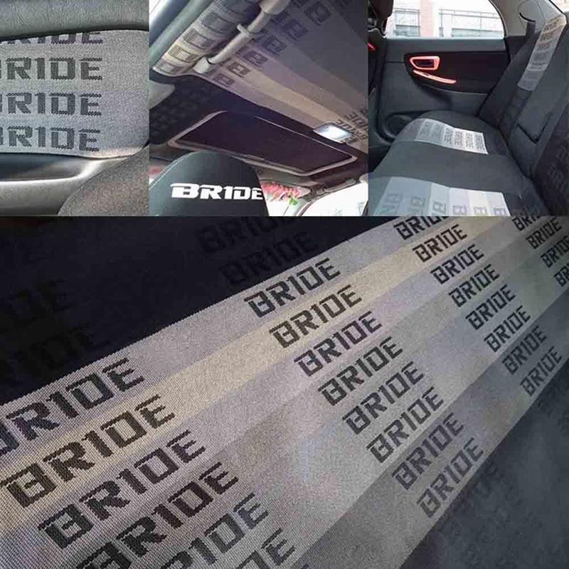 JQTUNING-100CM X160CM JDM BRIDE Racing Car Seats Auto Fabric Black Red Blue BRIDE Car Seats