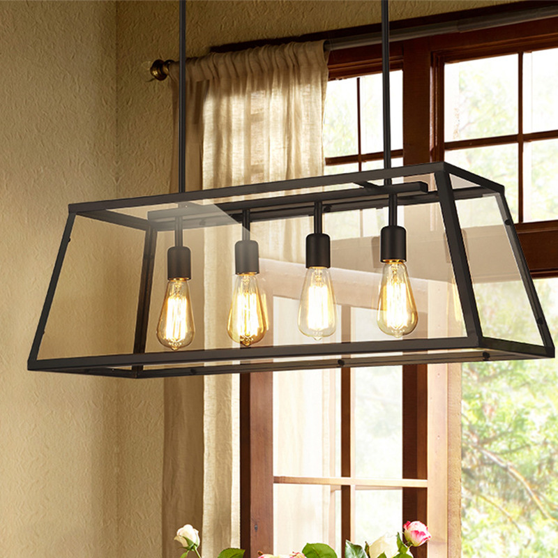 loft vintage iron glass box pendent lamp E27*4 retro creative dining room bar aisle cafe shop decoration lighting fixtures A208 loft crystal clear dysmorphism glass iron light ceiling lamp cafe dining bar aisle dining room restaurant coffee shop