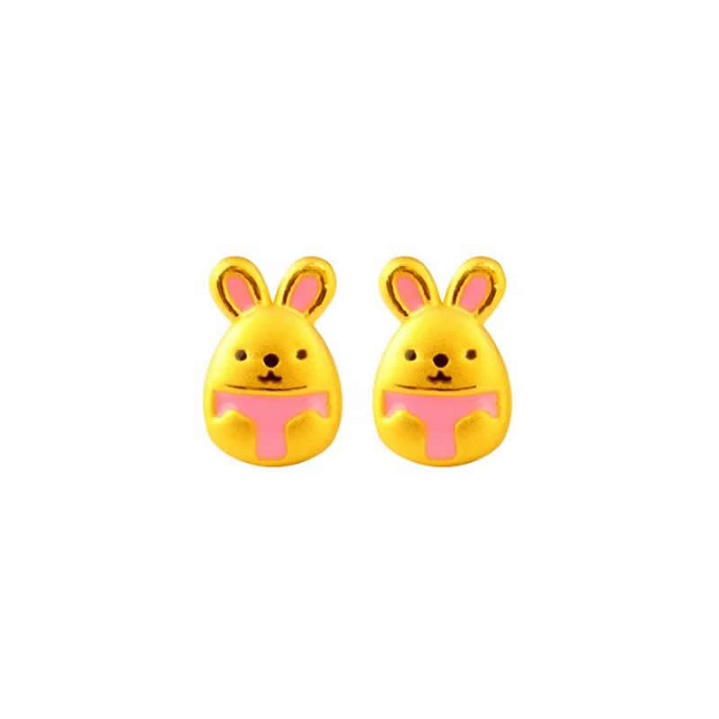 Solid 24K Yellow Gold Earrings 999 Gold Pink Colour Bunny Stud Earrings 1.8gSolid 24K Yellow Gold Earrings 999 Gold Pink Colour Bunny Stud Earrings 1.8g