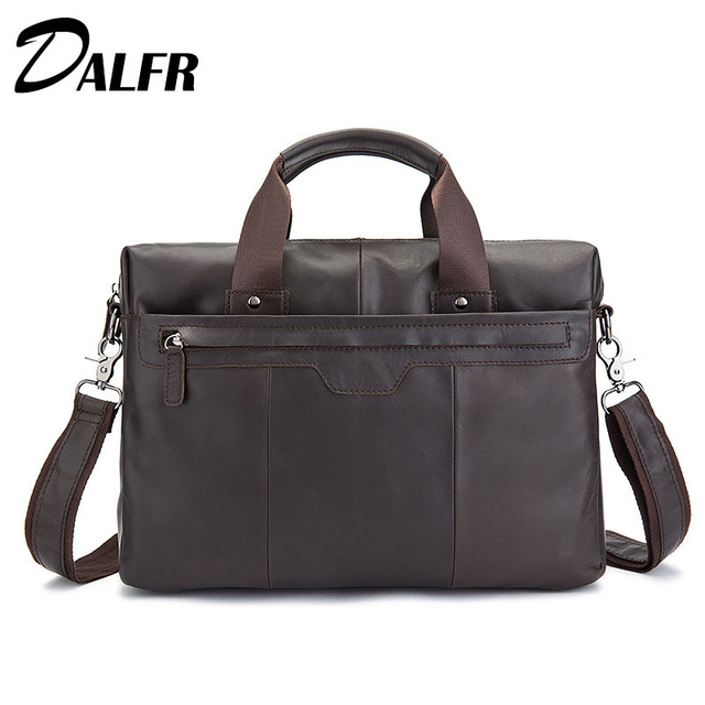 DALFR Genuine Leather Handbags Men Cowhide Briefcase Fashion Male Messenger Bags 18 Inch Crossbody Bags for Men 2017