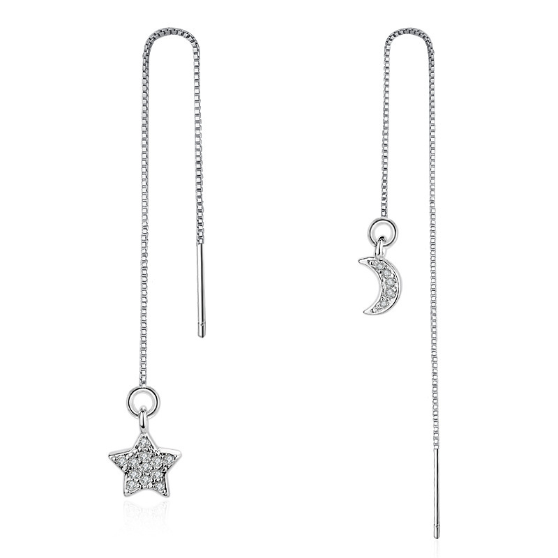 Asymmetric Star Moon Long Chain Dangle Earrings For Women Alloy White Gold Color Cubic Zirconia Jewelry 5pcs Lot In Drop From