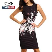 купить TOTRUST Sleeveless Floral Print Dress Women 2019 Summer Elegant Pencil Dresses For Women Black Sexy Bodycon Dresses For Women по цене 472.72 рублей