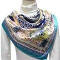 90 см * 90 см 2017 Новая Мода Шелковый Шарф Женщины Подражали Шелковый Dot Цельный Цветок и Горшок Напечатаны шарфы Шаль