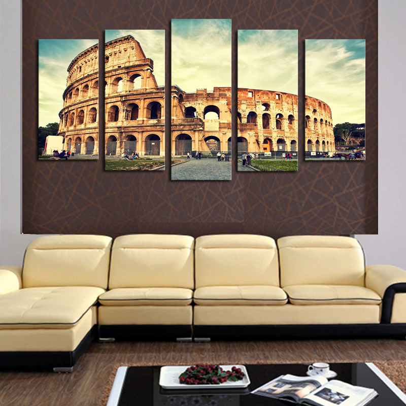 New 5 Pieces/sets Canvas Art Canvas Paintings Classical Architecture ...