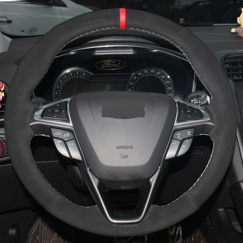 All Black Suede DIY Hand-stitched Car Steering Wheel Cover for Ford Fusion Mondeo 2013 2014 EDGE 2015 2016 for ford fusion mondeo 2013 2014 2015 control glass water panel protective film stickers carbon cover