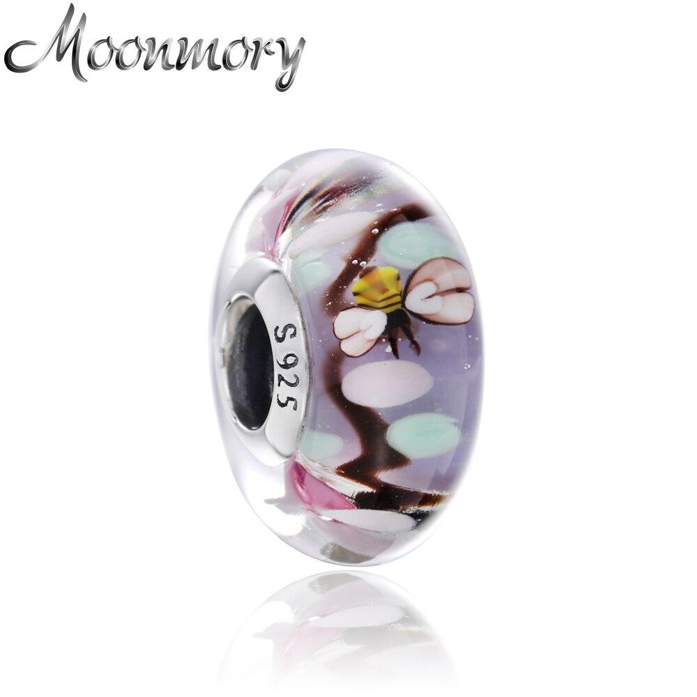 Moonmory 925 Sterling Silver Enchanted Garden Charme Murano Contas de Vidro Minúsculo Abelhas Voam Pastel Flores Fit Para Pulseiras Da Marca