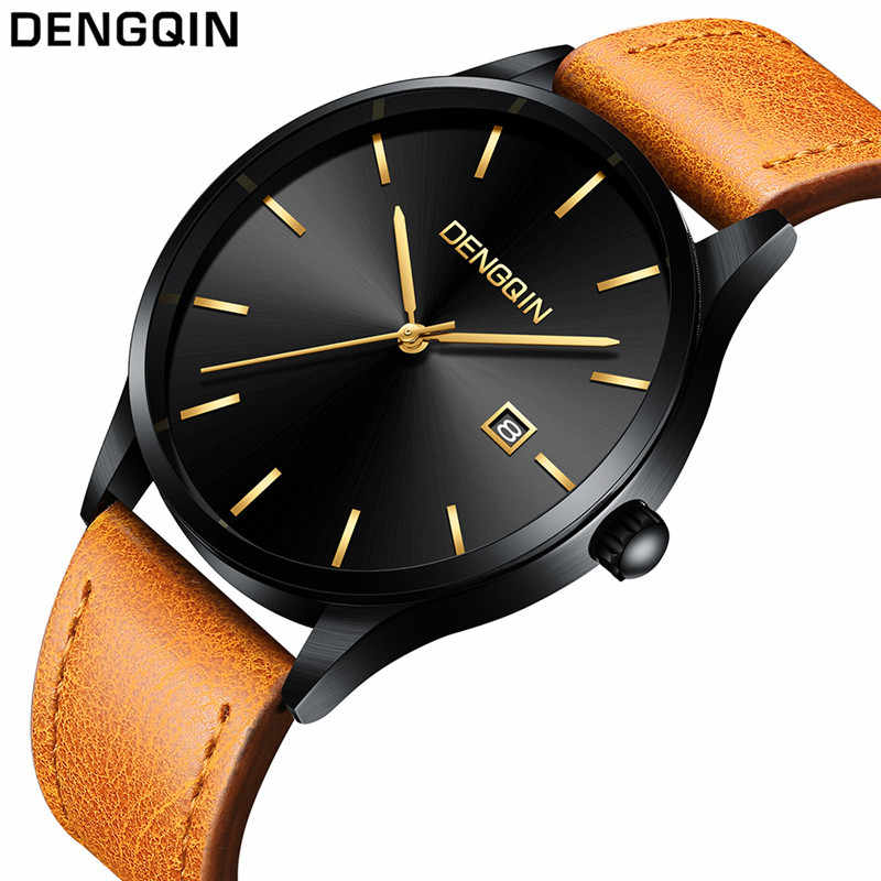 2019 Horloge Mannen Nieuwe Mode Merk Datum Luxe Retro Design Business Lederen Quartz Analoog casual Relogio Masculino Reloj