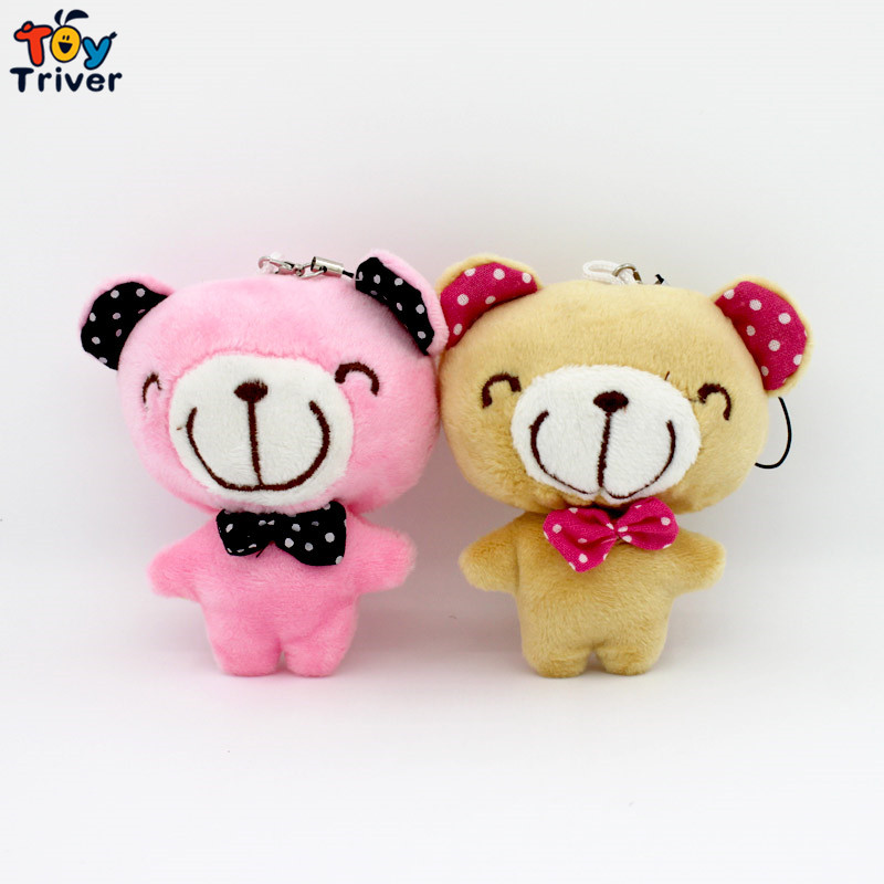100pcs 10cm Cute Plush Bear Doll Keychain Pendant Phone Accessories Toys Wholesale Wedding Party Christmas Gift Triver Toy  цена и фото