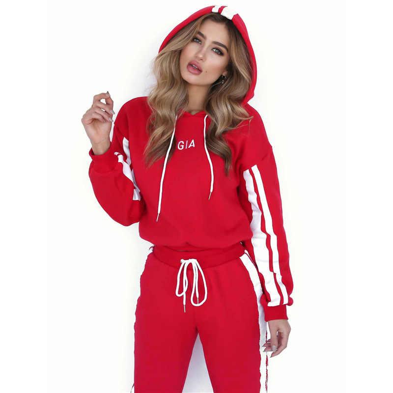 725e6cdcd67 ... Новые модные спортивные костюмы женщина письмо спортивный костюм с  капюшоном свитер кроп-топ и брюки ...