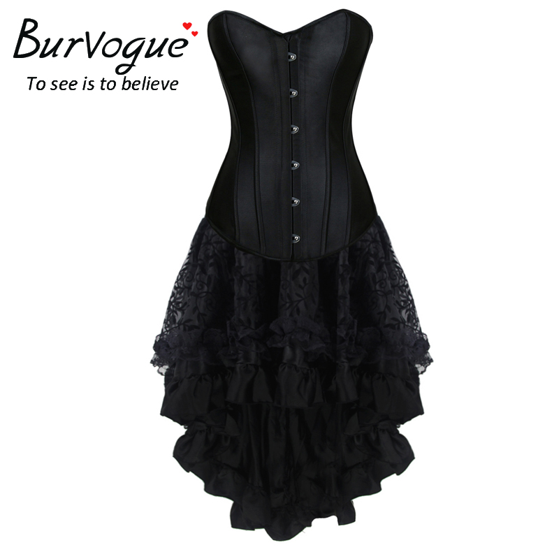 Burvogue Sexy Steampunk Corsets and Bustiers Top Lace Corset Women Push Up Gothic Steel Boned Overbust Corset Dress lace up steel boned halter corset top