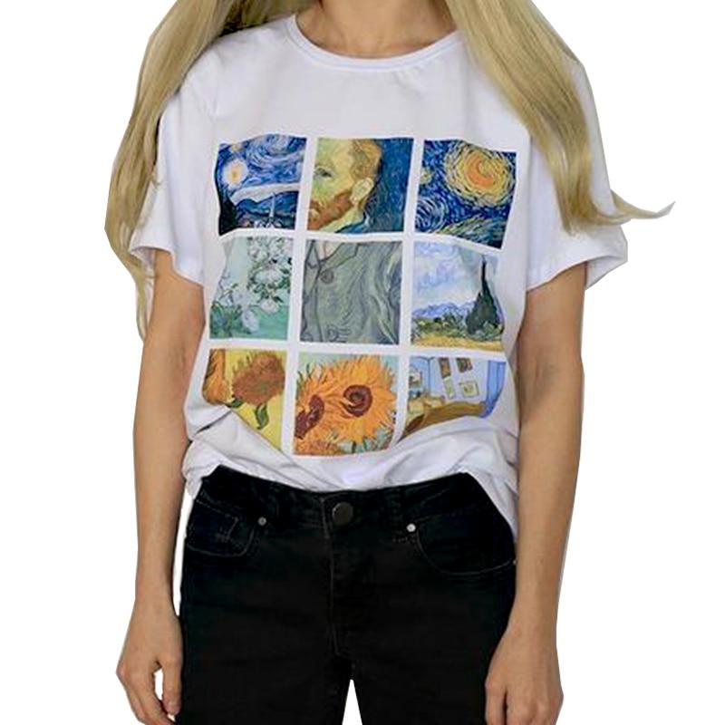 2018 Vogue Summer TopsVan Gogh Art Oil Painting Lattice Print Cute Casual Female Plus Modal Short-sleeved Harajuku T-shirt