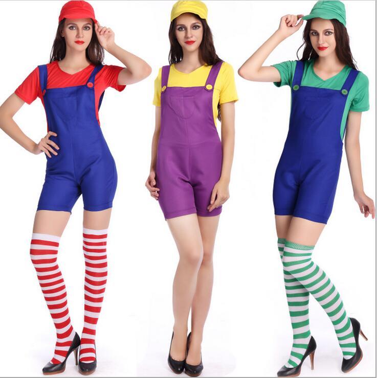 Women's Super Mario Costume Halloween Costumes for Adult Women Miss Super Mario Cosplay Costume Fandy Dress Suspenders With Hat