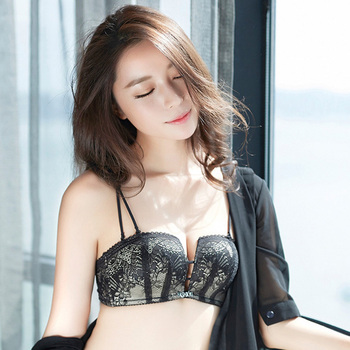 Half Cup Wire Free Bra Sexy Lace Bras For Women Deep V Three Hooks Black Lace Top Wireless Lingerie Bralette Brand Sexy Lntimate