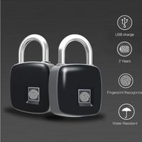 USB Rechargeable Smart Keyless Fingerprint Lock IP65 Waterproof Anti Theft Security Padlock Door Luggage Case Lock