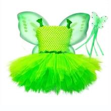 Easter Girls Clothing Children Gowns Princess Fairy Costume + Wing Fairy Wand Sleeveless Round Collar Top Nylon Mesh Tutu Dress