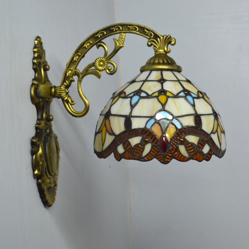 Tiffany Wall Lamp European Baroque Stained Glass Wall Sconce Mirror Bedroom Bathroom Cabinet Fixtures E27 110-240V