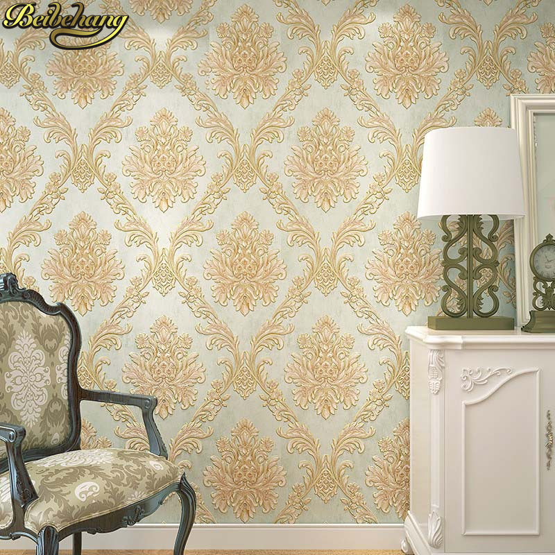 beibehang European embossed gilt vertical stripes Wall Paper Living room Bedroom Floral Wallpaper Roll Background Wallcoverings beibehang european style damascus high end deerskin thick vertical stripes bedroom background living room wallpaper