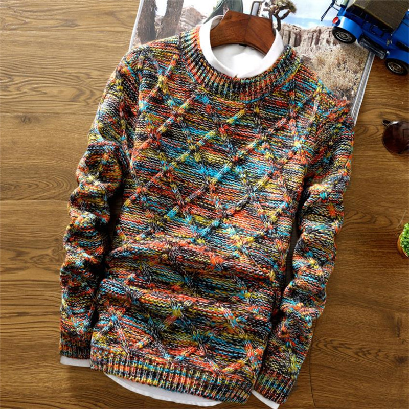 Men Sweater Pullovers Clothing Slim-Fit Knitted Long-Sleeve Streetwear Male Thick Winter