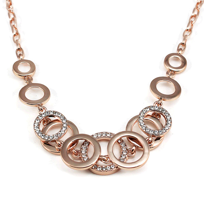 New Charm Round Necklaces Fashion Rhinestone Rose Gold ...