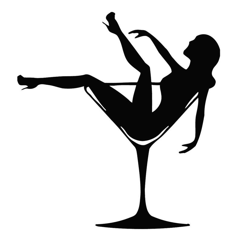 car stying 15 14cm sexy girl in glass pin up party striptease car body decoration decal funny Martini Glass Drawing Martini Glass Silhouette
