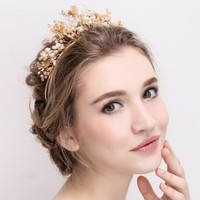 Elegant Gold Color Butterfly Bridal Crown Tiaras Luxurious Wedding Hair Jewelry Accessories Crystal Rhinestone Headpiece Huo