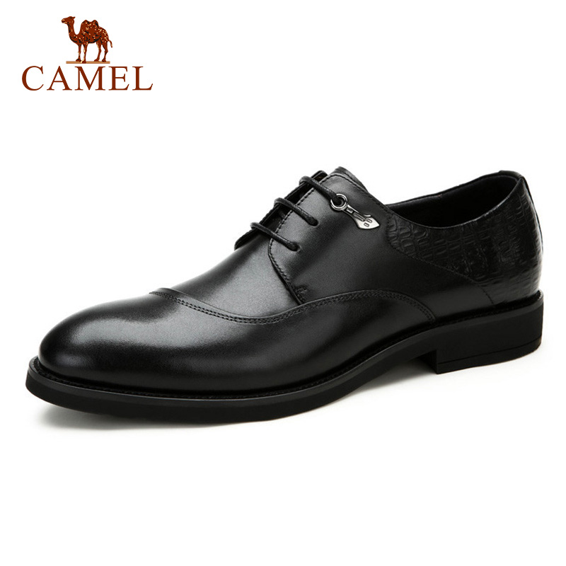 CAMEL Genuine Leather Men Shoes Formal Business Mens Dress Shoes elegant Wedding/Party Oxford Men's Leather Shoes Male Brogues цены онлайн