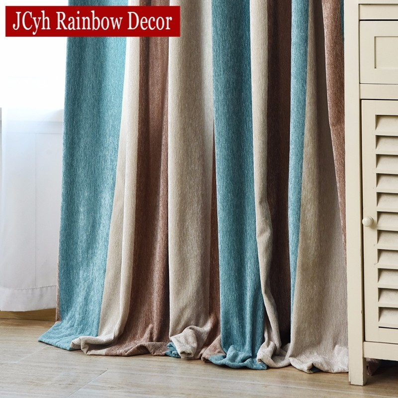 JCyh Striped Modern Blackout Curtains For Bedroom Living Room Decoration Chenille Curtains For Window Rideaux Blinds Drapes