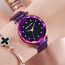 Women Watches Luxury Stainless Steel Mesh Magnetic Bracelet Watch For Women StylishStarry Sky Rose Gold Quartz Clock bayan saat stylish rhinestones faux pearls rose gold bracelet for women