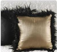 black fur fringed velvet cushion cover throw pillowcase lumbar pillow cover sofa home decorative throw pillowcase indoor