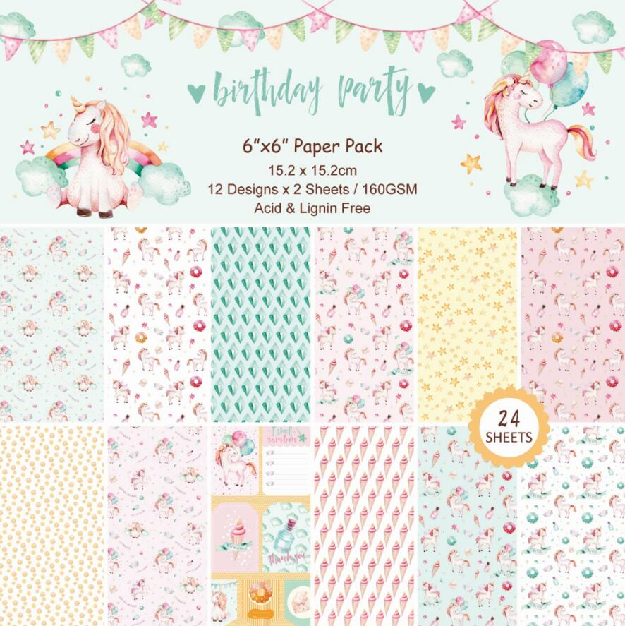 DIY Unicorn Scrapbooking Paper Pack Of 24sheets Handmade Craft Paper Craft Background Pad